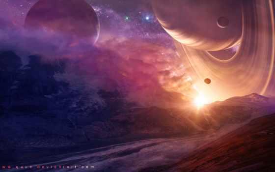 звезды, горы, планеты, house, кольца, stars, planet, mountains, space,