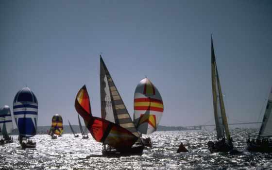 яхты, корабли, парусники, море, лодки, широкоформатные, часть,