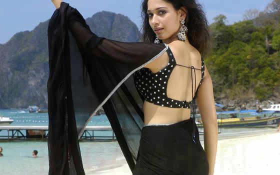 saree, tamanna, black