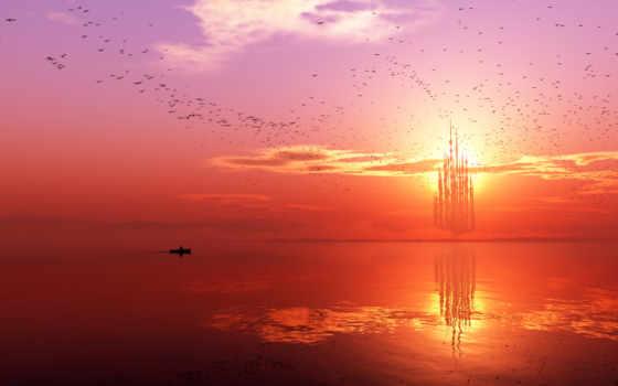 птицы, небо, море, лодка, landscape, castle,