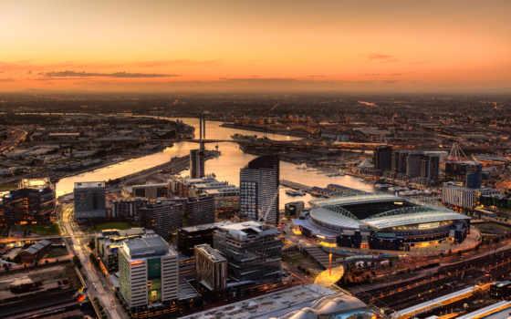 города, melbourne, вечер, мегаполис, австралия, взгляд, город,