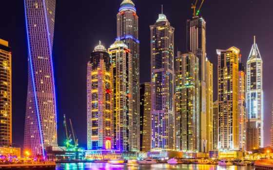 dubai, оаэ, город, ночь, арабские, эмираты, skyscrapers,