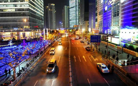 город, китаянка, china, дома, улица, shanghai, огни, люди, ночь,