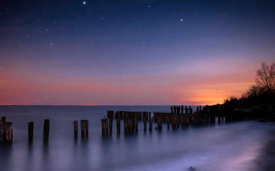 ночь, звезды, небо, море, созвездия, гладь,