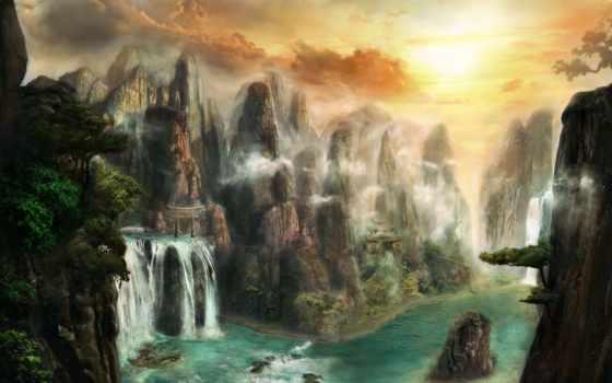 фантастический, пейзаж, мир, обои, арт, горы, скал