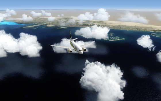 самолёт, oblaka, море