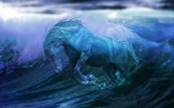 fantasy, ocean, лошадь