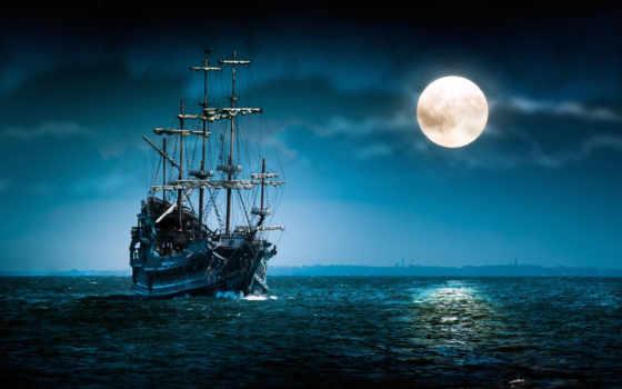 рисованные, море, луна
