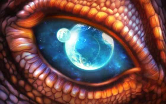 дракон, глаз, art