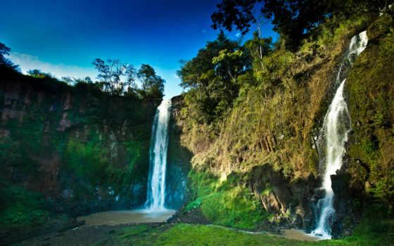горы, водопад, небо, водопады, природа, широкоформатные, фотографий,
