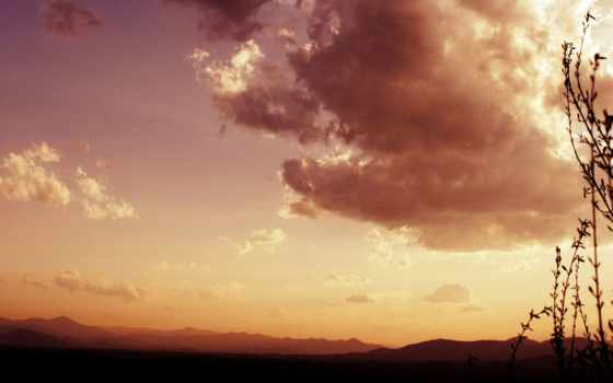 oblaka, небо, landscape, закат, clouds, коричневое, наши, possible, без, быстро,