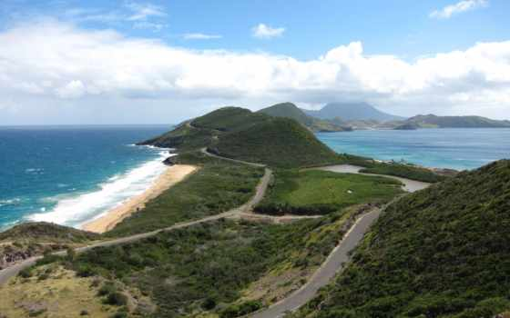 острова, карибские, взгляд, ocean, атлантический, слева,