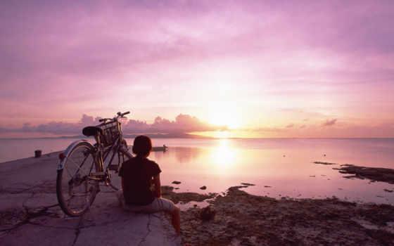 море, девушка, закат, bike, небо, devushki, велосипедом, моря,