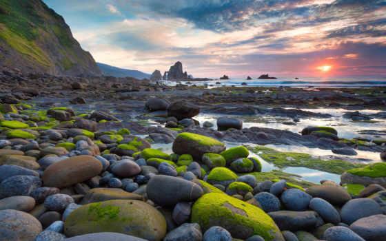 камни, большие, water, море, samsung, берегу, sun, моря, мох,