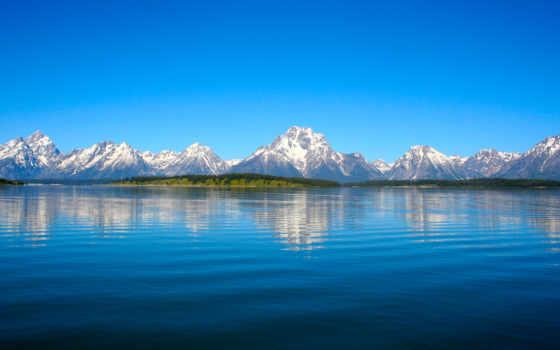 горы, landscape, уезд, water, небо, природа, отражение, blue, teton,