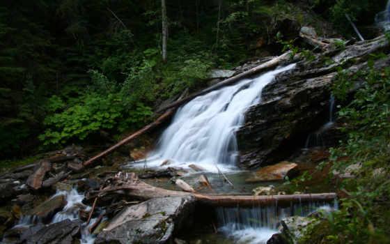 водопад, течение