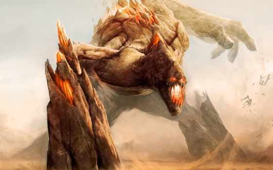 monsters, titan, fight, sand, fantasy, giant, art, июня,