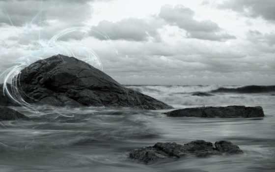 скалы, небо, волны