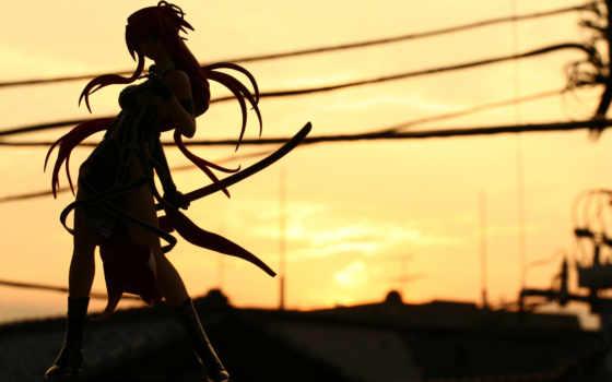 силуэт, девушка, закат, катана, меч, ленточки, дорога,