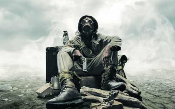 stalker, маска, веревка, пистолет, камни, desktop, телефон, небо, разруха,