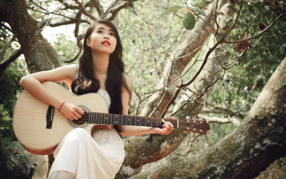 гитара, музыка, девушка, июнь, 素材公社tooopen,