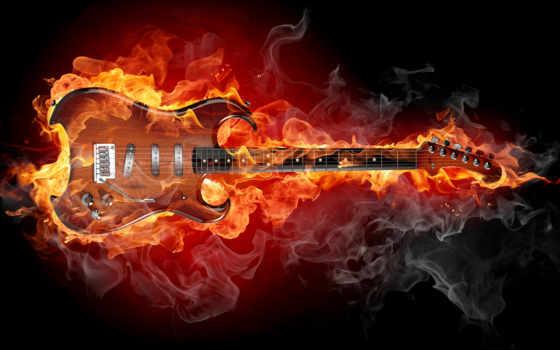 guitarra, fuego, rodeada,