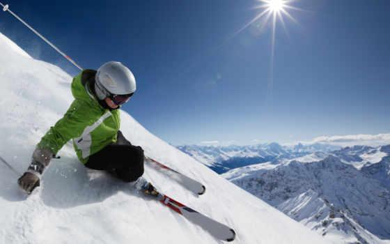 лыжник, спуск, снег, небо, горы, спорт,
