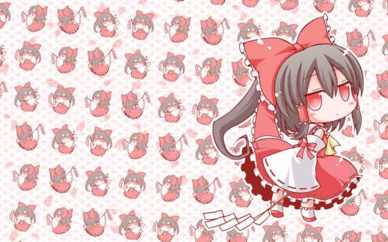 hair, hakurei, reimu, chibi, bow, angeltype, black, japanese, clothes, long, eyes, miko, red, touhou, braids, petals, ponytail, similar,