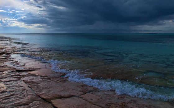 тучи, море, облака