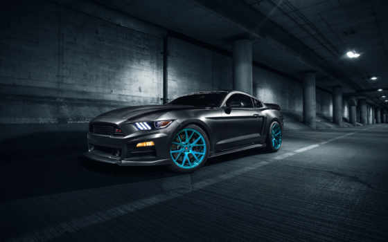 mustang, ford, тюнинг, supercars, vossen, roush, серый,