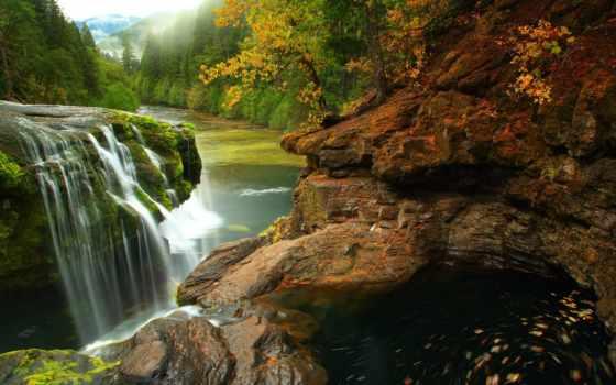 florestas, rios, parede, sobre, naturaleza, foto, tema, cores, queda, eua, ríos,