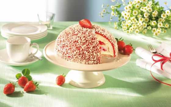 торт, клубника, cvety, ягоды, ромашки, еда, десерт, мороженое, салфетки, chocolate, white,