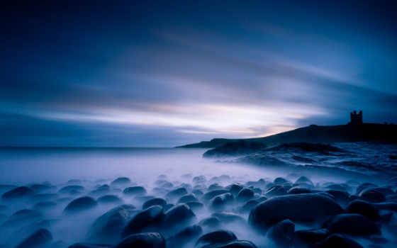 ночь, море, landscape, rocks, blue, горизонт, ocean, страница, небо,