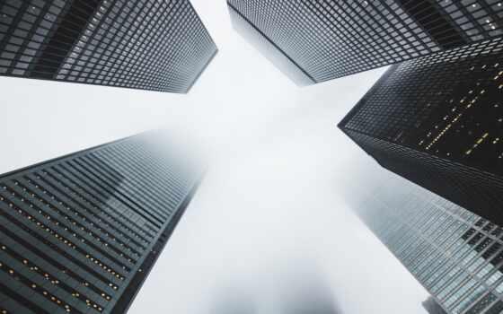 город, building, смотреть, build, туман, они, небоскрёб, architecture, группа