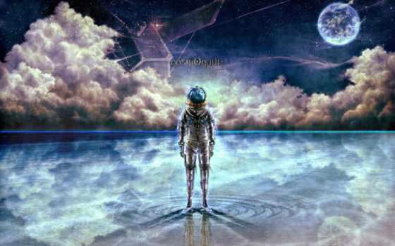 космонавт, bouno, art, звезды, satoshi, water, облака,