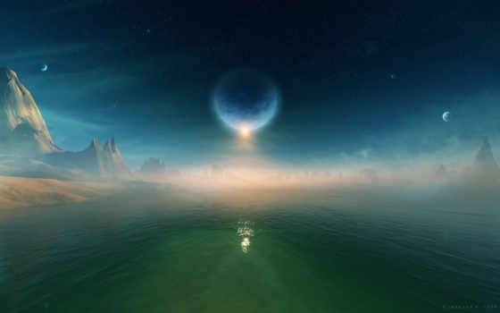 космос, тройные, воды, water, звезды, космической, планеты,
