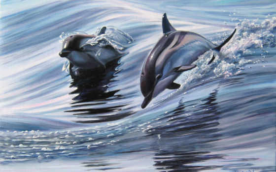 дельфины, живопись, zhivotnye