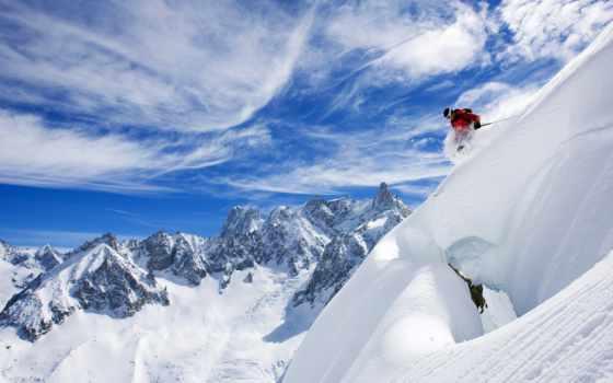 montagne, ecran, ski, des, fond, les,