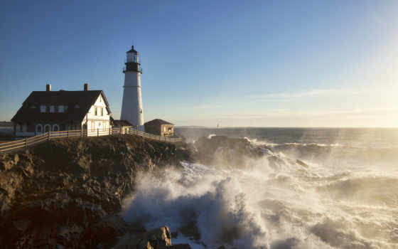 мэн, cape, portland, elizabeth, голова, lighthouse, свет, faro, united, states,