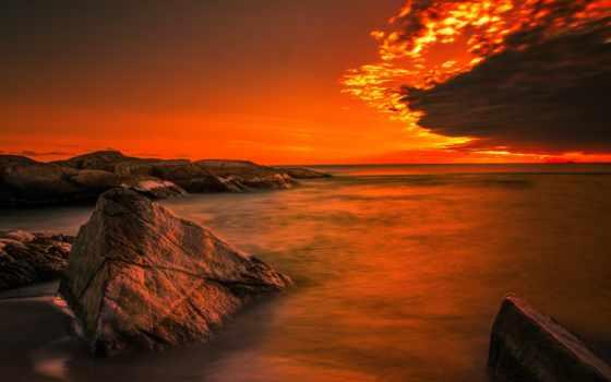 фотообои, берег, заказать, комнат, цвету, океана, рассвет, горизонт, купить, ocean,