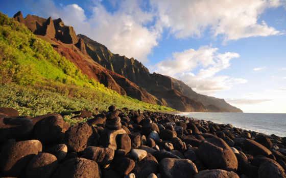 побережье, пали, kauai, hawaii, park, state, остров, along,