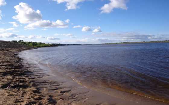 река, пляж, summer, природа, небо, красиво, oblaka, clouds,