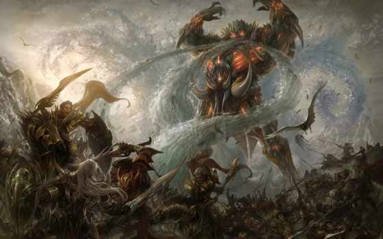 демон, магия, птица, армия, water, битва, горы, гигант,