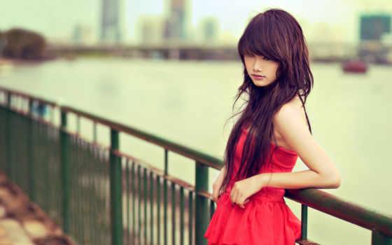 brunette, природа, модель, платье, взгляд, девушка, широкоформатные, облокотившись, природе, devushki, стоит,