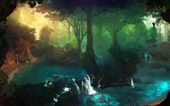 landscape, fantasy, водопад, лес, ручей, trees, art,