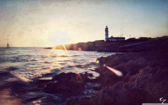 стилизация, маяк, море