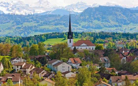 швейцария, горы, дома, здания,