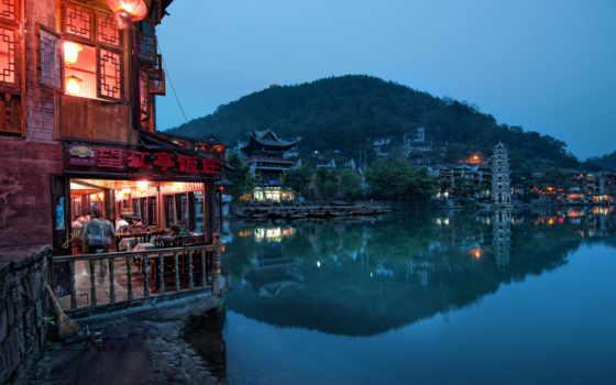 china, гора, города, дома, plane, озера, заднем, берегу,