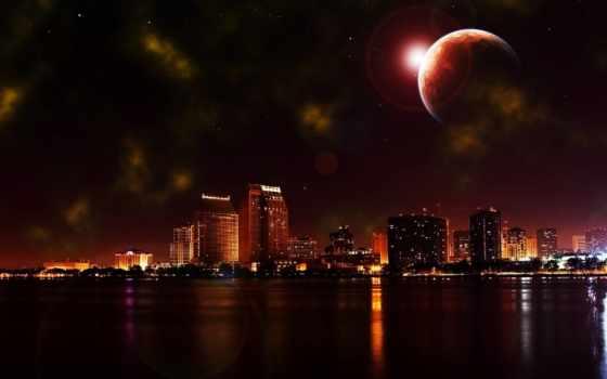 город, луна, ночь, которым, со, красивый, waters, возвышается, календарь,