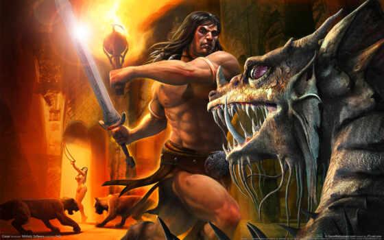сражение, conan,, меч, атлет, факел, огонь, звери, защитник, воин, девушка, монстр, клыки, конан,